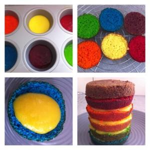 préparation cake arc en ciel