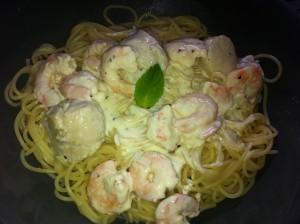 spaghetti st jacques crevettes