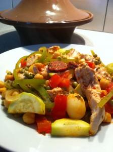 recette tajine poulet chorizo épicé