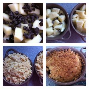 préparation crumble pomme chocolat