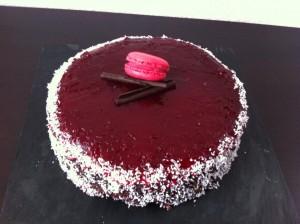 moelleux chocolat blanc glaçage fraise